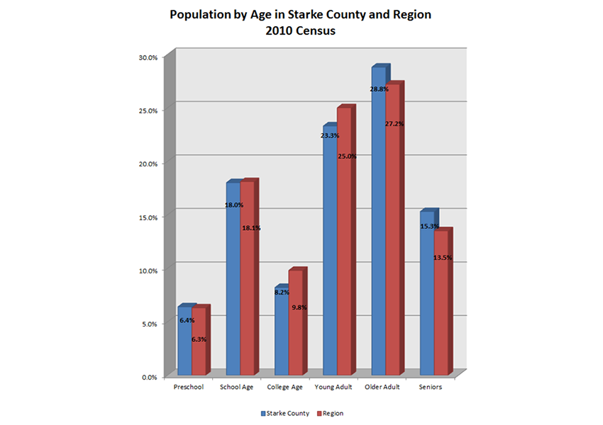 Starke County Population Estimates by Age